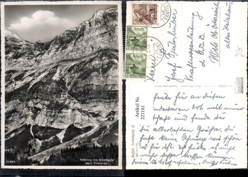 221181,Buffet Schwägalp u. Säntisgipfel Aufstieg v. Schwägalp nach Thierwies b. Urnäsch Kt Appenzell