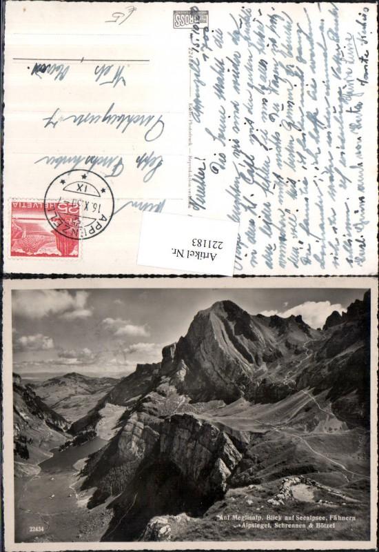 221183,Auf Meglisalp Blick auf Seealpsee Fähnern Alpsiegel Schrennen u. Bötzel Bergkulisse Kt Appenzell
