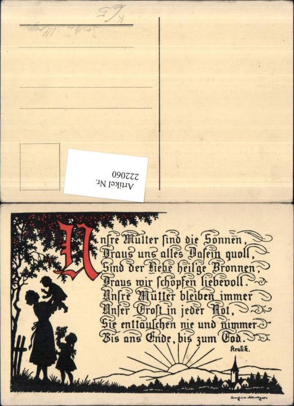 222060,Künstler AK Allmayer Josefine Scherenschnitt Silhouette Mutter m. Kinder Gedicht Text