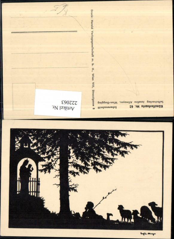 222063,Künstler AK Allmayer Josefine Scherenschnitt Silhouette Hirte Schäfer Schafe Kapelle Madonna