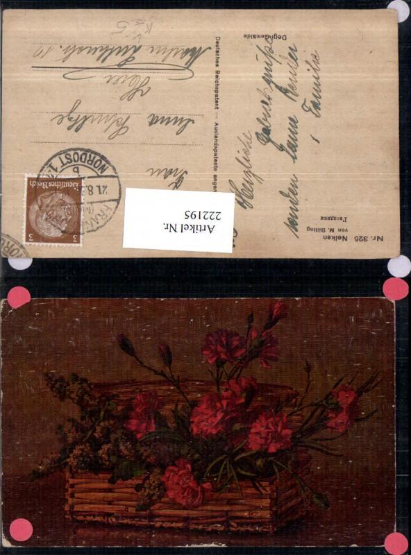 222195,Degi AK 325 Künstler M. Billing Nelken Blumen Korb