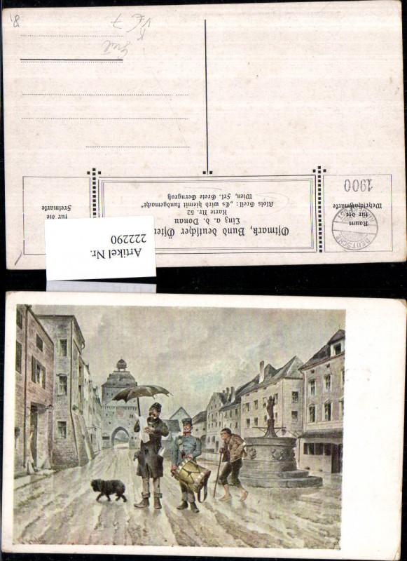 222290,Bund Deutscher Österreicher 52 Künstler Alois Greil Es wird hiermit Kundgemacht Ortsansicht Tor Brunnen Männer