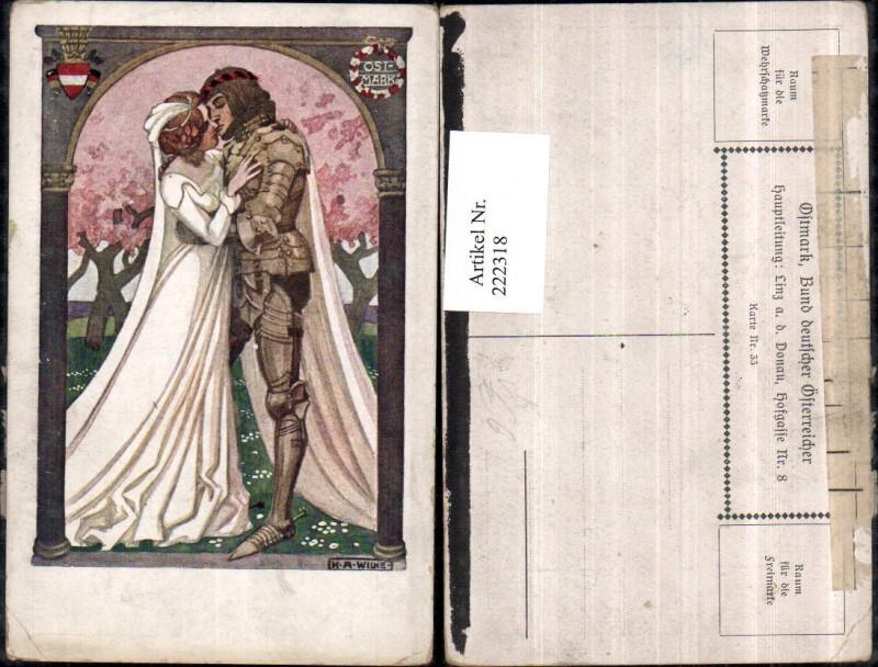 222318,Bund Deutscher Österreicher K. A. Wilke Mann Ritter Hochzeit Frau Brautkleid Braut Kuss
