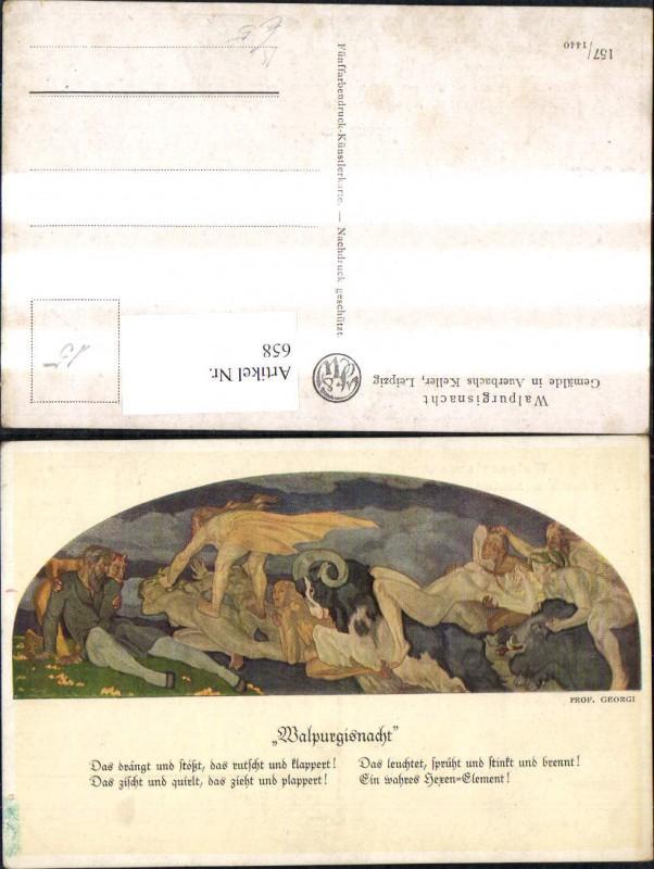 658,Künstler Ak Prog. Georgi Walpurgisnacht Gemälde i. Auerbachs Keller