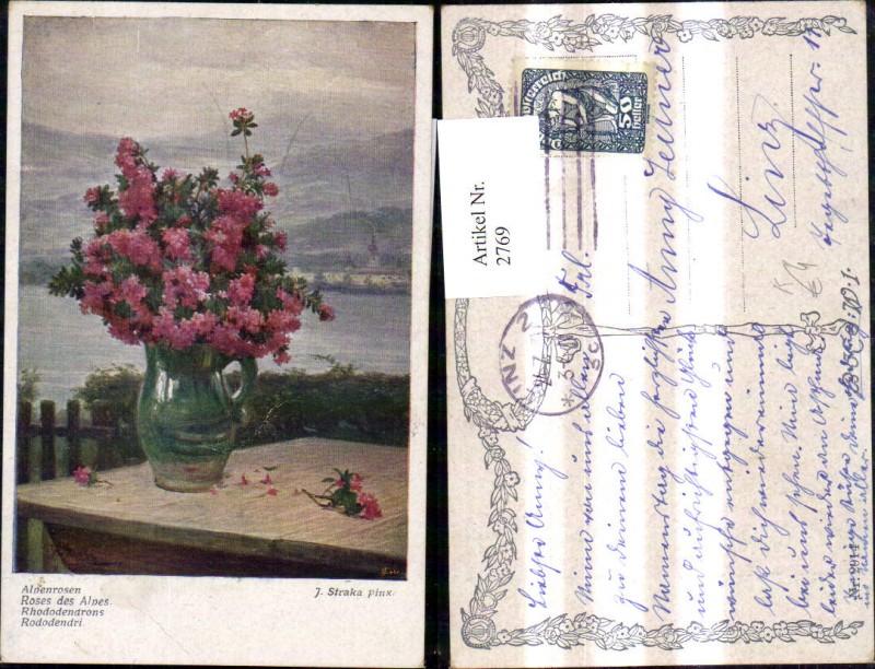 2769,Künstler Ak J. Straka Alpenrosen Rosen