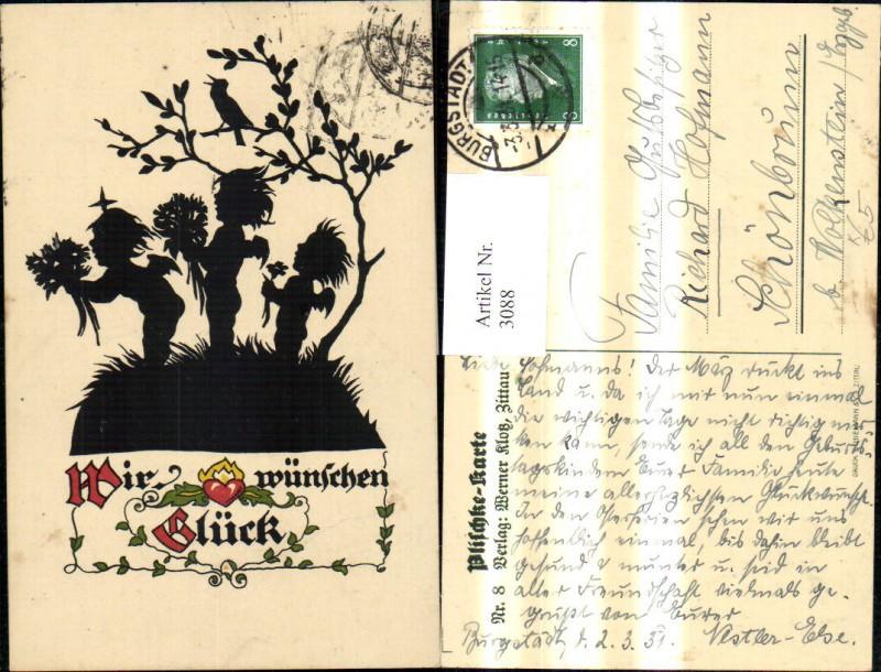 3088,Künstler Ak Scherenschnitt Plischke Wir wünschen Glück Kinder Blumen Strauß