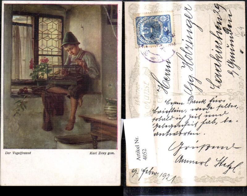 4052,Künstler Ak Karl Zewy Der Vogelfreund