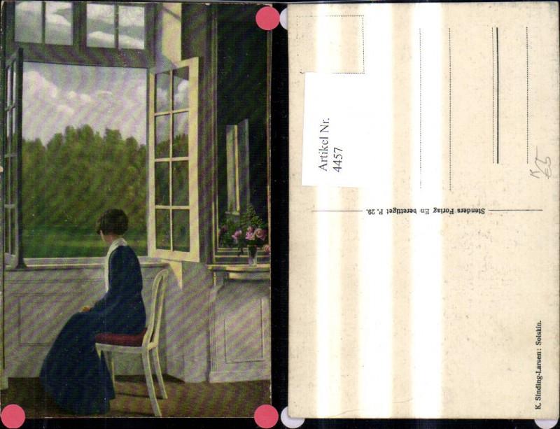 4457,Künstler Ak K. Sinding-Larsen Solskin Frau a. Fenster