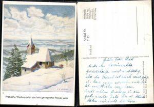 5193,Künstler Ak Mundgemalt Arnulf Erich Stegmann Kirche i. Schnee Weihnachten Neujahr