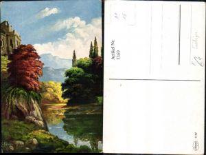 5369,Künstler Ak G. Fiebiger Landschaft Burg See