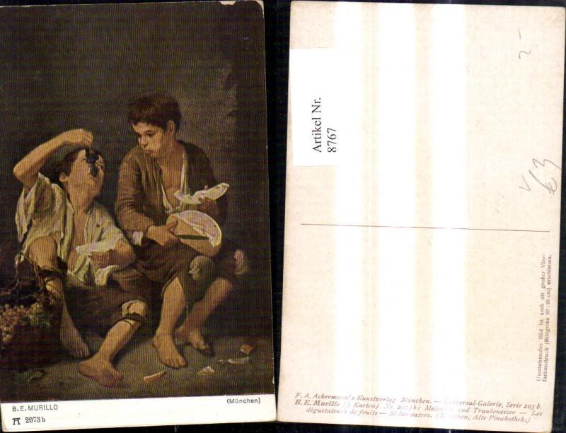 8767,Künstler Ak B. E. Murillo Melonen u. Traubenesser pub F. A. Ackermann 2073 b