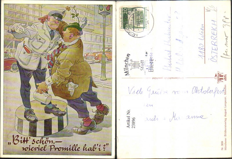 23896,Scherz Humor Trunkenbold m. Polizist Bitt schön wieviel Promile hab i pub Lengauer 3034