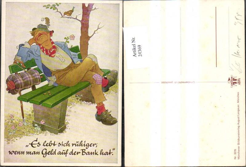 24369,Scherz Humor Mann Münzen Geld a. Bank Spruch Text pub Lengauer 3276