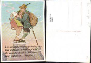 24472,Künstler Ak Scherz Humor Frau Mann a. Berggipfel Spruch Text