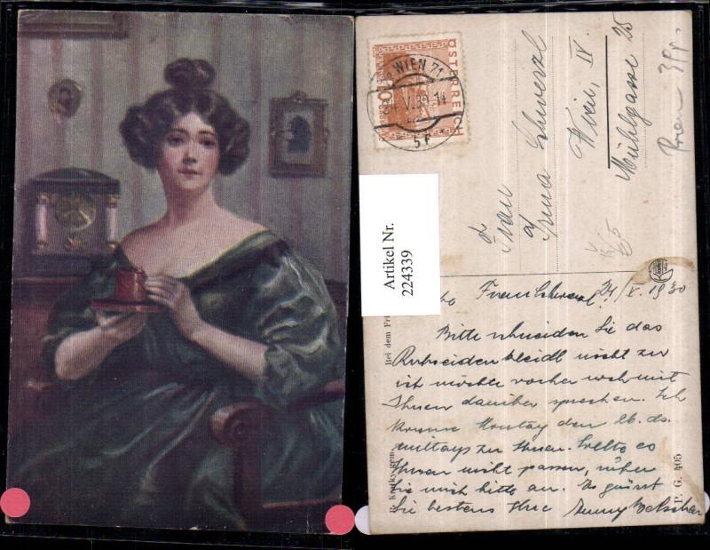 224339,Künstler AK R. Kratky Bei d. Frühstück Frau m. Tasse pub Kilophot