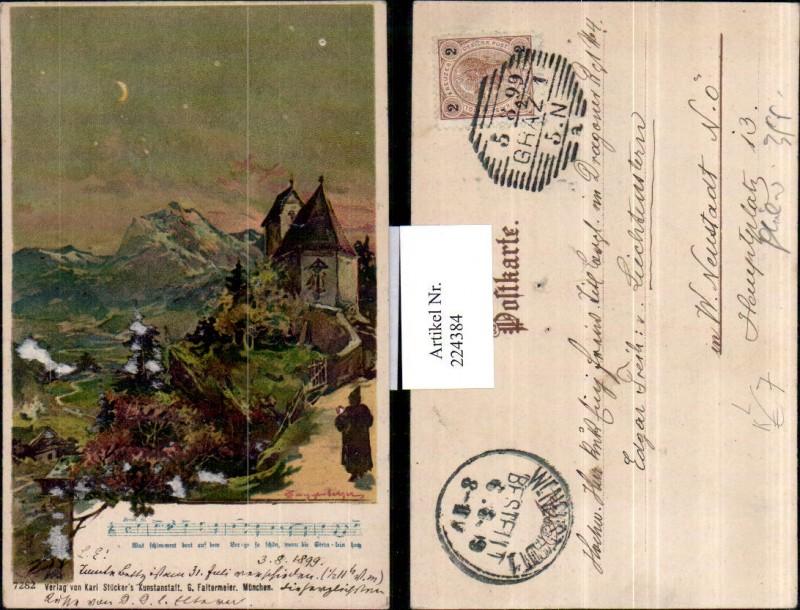 224384,Künstler Litho AK Guggenberger Kirche Landschaft Lied Mondschein
