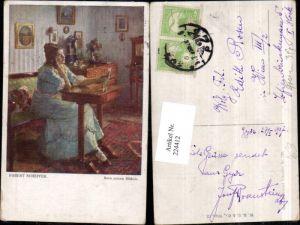 224412,Künstler AK Robert Scheffer Sein neues Bildnis Frau m. Kleid Bank Tisch