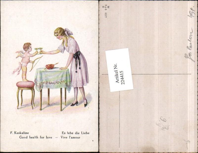 224415,Künstler AK F. Kaskeline Es lebe die Liebe Amor Engel Kleid Herzen Tisch Wein