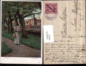 224427,Künstler AK Fritz Bergen Zum Stelldichein Frau m. Kleid Hut Zettel i. d. Hand Kirchenturm