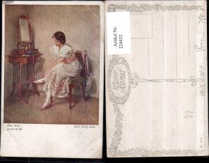 224432,Künstler AK Karl Zewy Zum Ball Frau m. Kleid Stuhl Spiegel