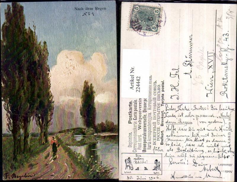 224442,Künstler AK F. Bayerlein Nach d. Regen Landschaft Brücke