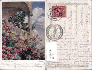 224451,Künstler AK R. Konopa Loggia Balkon Blumen
