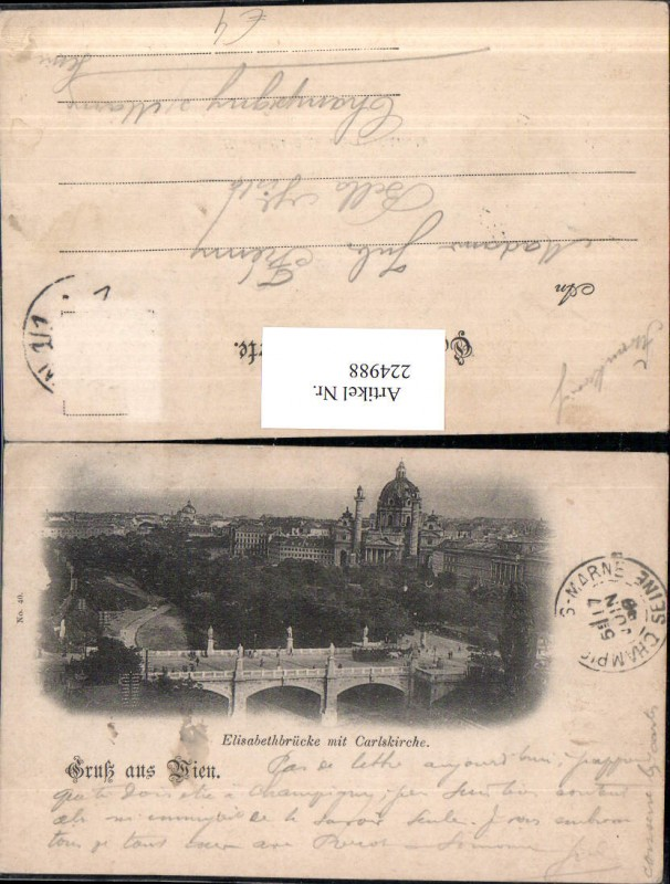224988,Wien Wieden Elisabethbrücke Brücke m. Karlskirche Kirche