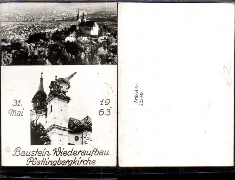 225948,Linz a. d. Donau Totale Baustein Wiederaufbau Pöstlingberg Kirche 1963 Mehrbildkarte 0