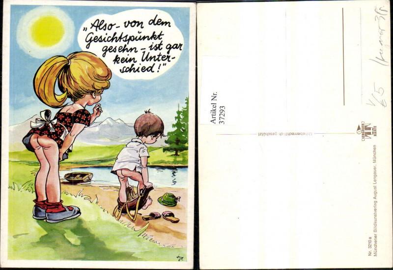 37293,Künstler Ak Scherz Humor V. d. Gesichtspunkt ist gar kein Unterschied Nackter Po pub August Lengauer 3210a