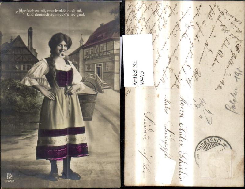 39475,Frau Portrait Zöpfe Dirndl Kleid m. Eimer Kübel Spruch Text
