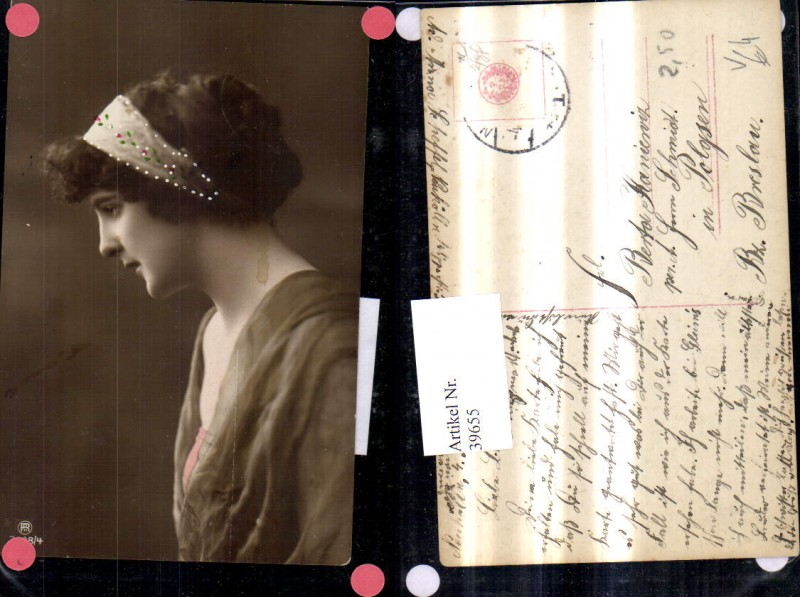 39655,Frau Portrait m. Haarband Kopfschmuck pub RPH 3598/4 0