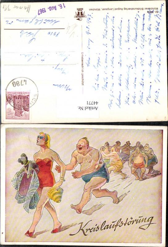 44771,Künstler Ak Scherz Humor Kreislaufstörung Bikinischönheit laufen Männer hinterher pub August Lengauer 3063a