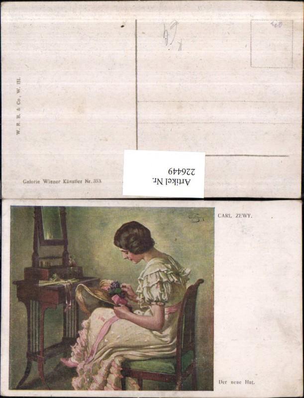 226449,Künstler AK Carl Zewy Der neue Hut Frau m. Kleid Hut Hutmode Sessel Spiegel