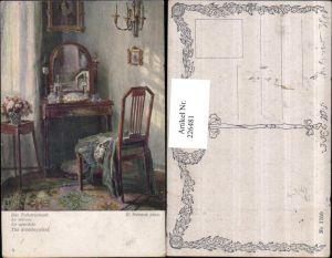 226481,Künstler AK R. Konopa Der Toilettenspiegel Spiegel Sessel