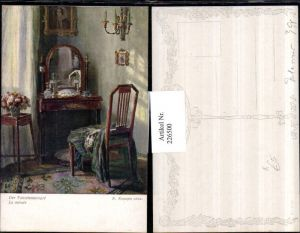 226500,Künstler AK R. Konopa Der Toilettenspiegel Spiegel Sessel Blumen