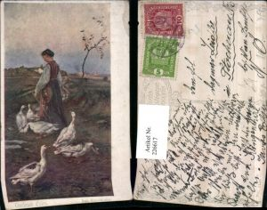 226617,Künstler AK Rud. Konopa Gardeuse doies Frau m. Buch Hut Gänse