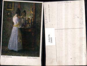 226659,Künstler AK Rob. Scheffer Spieglein Spieglein Frau m. Kleid v. d. Spiegel