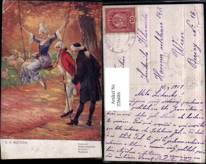 226686,Künstler AK C. v. Muttich Nebenbuhler Männer Frau m. Kleid Schaukel Schafe