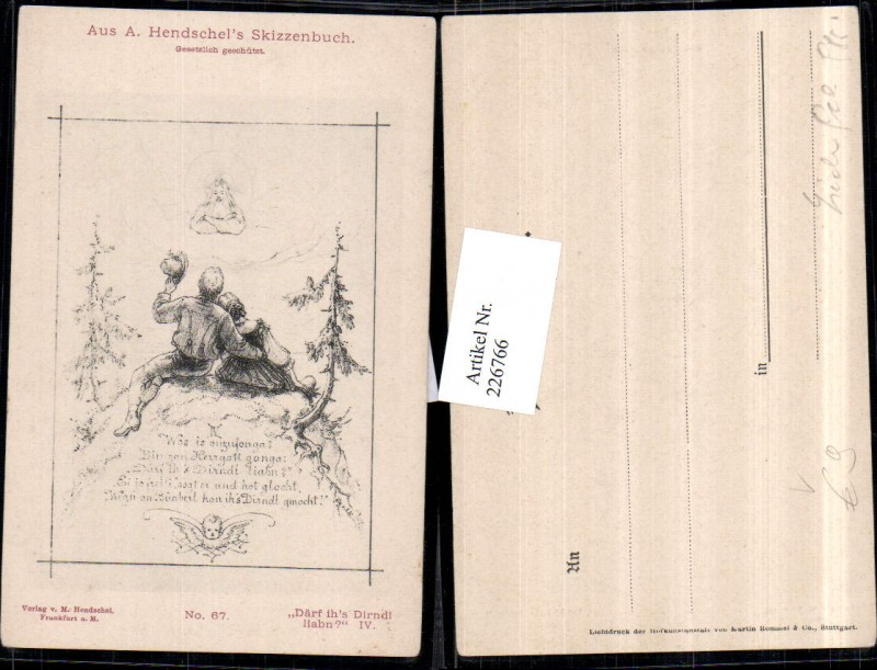 226766,Künstler AK A. Hendschel Skizze Därf ihs Dirndl haben Mann u. Frau Tracht Gott Wolken pub M. Hendschel 67