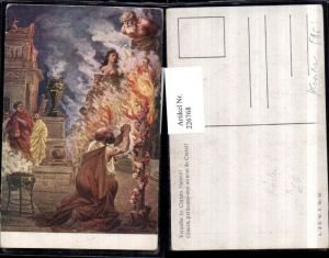 226768,Künstler AK Fr. Rösler Verzeihe in Christo Namen Mann Personen Verbrennung