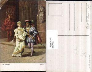 226770,Künstler AK Fr. Rösler Faust Frau m. Kleid Zöpfen Mann Schwert Umhang