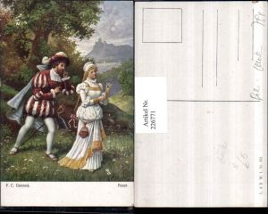 226771,Künstler AK Fr. Rösler Faust Frau m. Kleid Zöpfen Man Schwert Landschaft