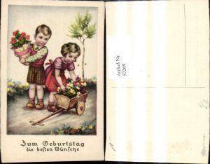 57269,Künstler Ak Geburtstag Kinder m. Blumentopf Leiterwagen Blumen Präge Schrift pub Erika 3380