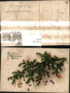 59514,Weihnachten Tannenzweig m. Kerzen Anhänger Weihnachtsschmuck Äpfel