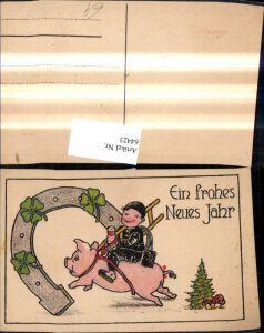 64423,Künstler Ak Neujahr Hufeisen Rauchfangkehrer Schornsteinfeger a. Schwein Weinglas Klee Fliegenpilz Pilz