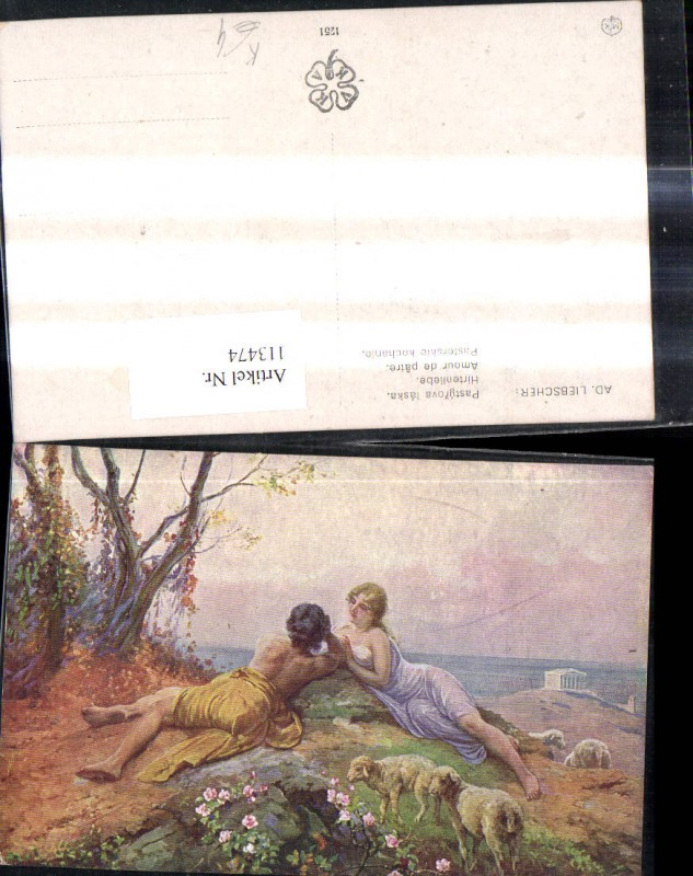 113474,Künstler Ak Ad. Liebscher Hirtenliebe Liebespaar Schafe Hirte