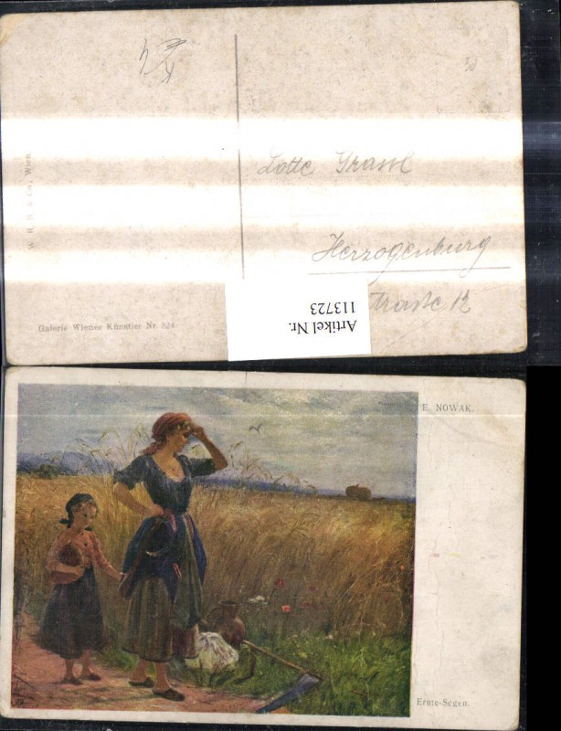 113723,Künstler Ak E. Nowak Ernte Segen Frau Mädchen a. Feld Sense
