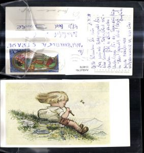 114078,Künstler Ak m. d. Mund gemalt A. E. Stegmann Das Hirtenlied Bub m. Flöte