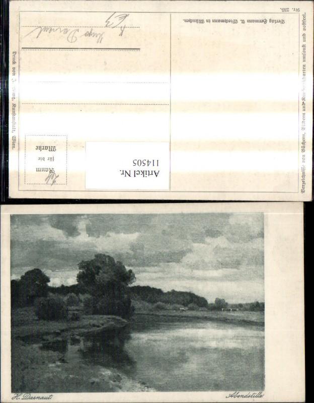 114505,Künstler Ak Hugo Darnaut Abendstille Ufer See Landschaft