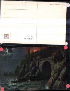 115723,Künstler Ak Landschaft Küste Brand Feuer Festung b. Mondschein pub Egemes 54